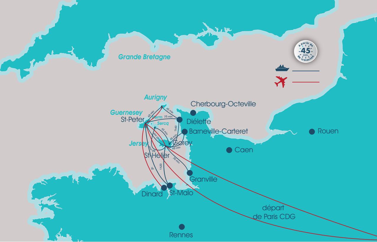 Carte traversée pour se rendre dans les iles anglo-normandes